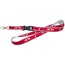 Flat Lanyard, 20 mm with Sewed-on, Woven Jacquard ribbon and plastic buckle