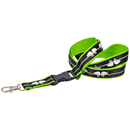 Flat polyester lanyard, 20 mm with sewn-on satin ribbon, screen printing and plastic bucle